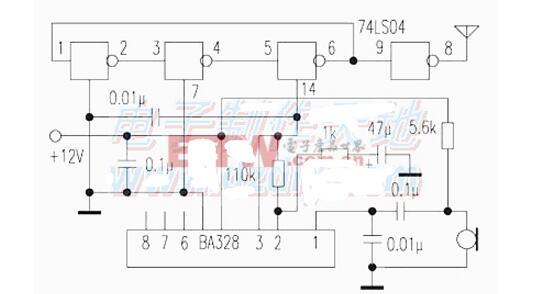 74LS04应用电路五 与三极管组成的按键唤醒电路 74ls04应用电路图大全 七款74ls04环形振荡器 方波振荡器 多谐振荡器电路