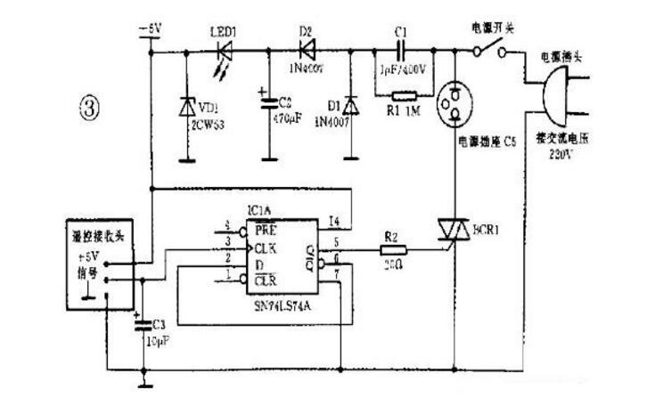 74ls74应用电路图大全(八款74ls74四分频/红外遥控开关/FSK调制电路)