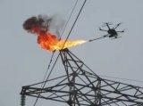喷火无人机清除导线异物,为输电线路的安全保驾护航