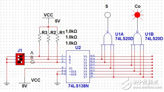 用74ls151实现全加器设计电路