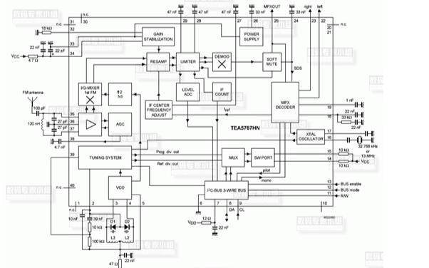 MCU采用TEA5767设计的MP3电路图下载