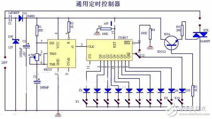 简单定时电路图大全(计数器CD4029\TC9160\CD4017\继电器)