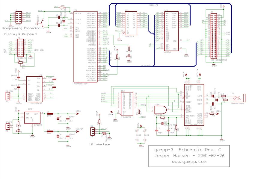 MCU采用AT90S8515SP设计的MP3电路图下载