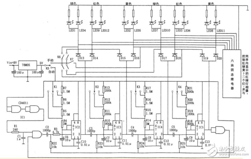 74ls151实现的红绿灯电路图(多谐振荡器555\计数器\LED)