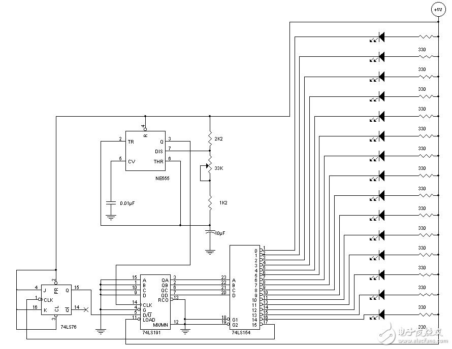 74ls154应用电路图大全(LED流水灯\译码...
