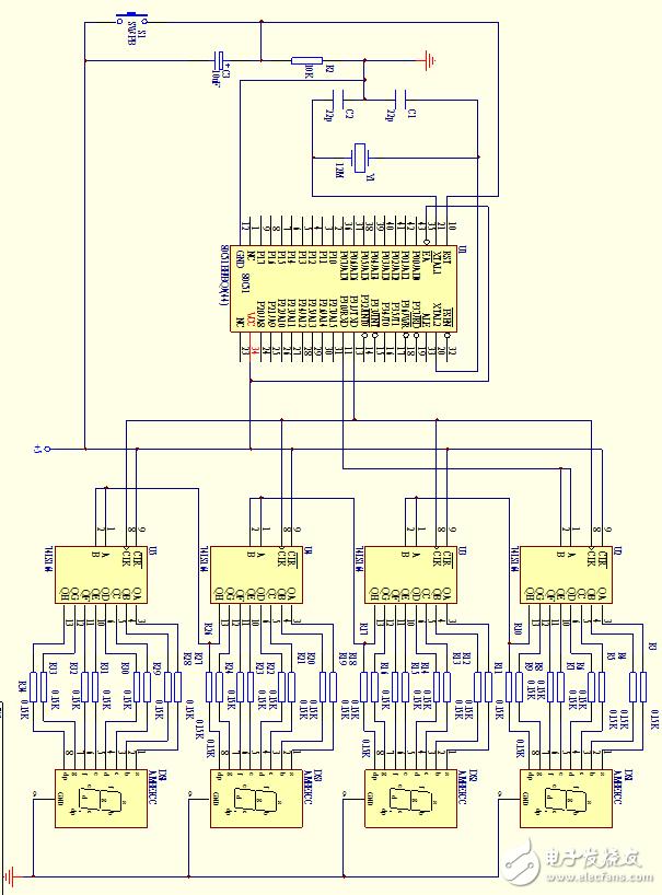 74LS164扩展的8位LED串行显示接口电路