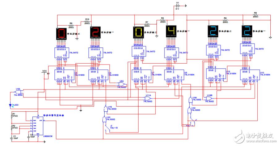 数字时钟电路原理图_74ls160数字钟仿真电路(振荡器\74LS47D\计数器\74LS48) - IC应用电路 ...