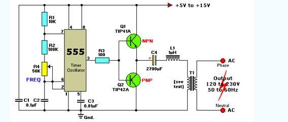 555作逆变器电路图大全(四款555作简易高频逆变器/家用逆变器电路)