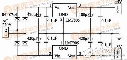 7905稳压电源电路图大全(LM7905/线性稳压电源/直流稳压/三端稳压器)