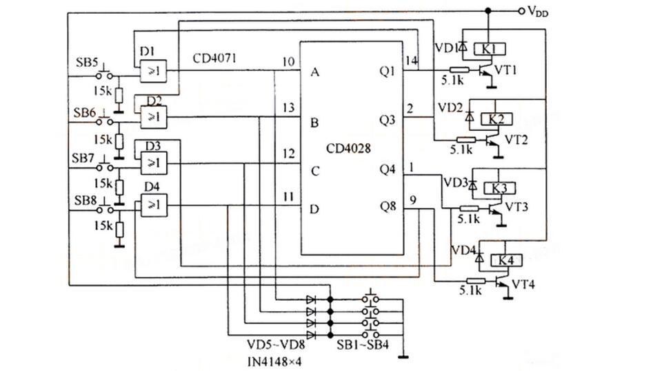 d4028应用电路图大全 六款cd4028灯控 四路互锁开关控制器 触摸电图片