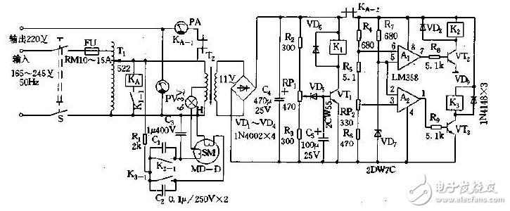 工作原理:图1所示稳压电源由主回路、取样控制电路、驱动伺服系统、过压检测及保护电路等组成。带有滑动臂的自耦变压器的T1作为主回路,其输入端固定,输出端由伺服电机SM、电源变压器T2、指示灯H、取样控制、驱动电路提供工作电压。电源变压器T2的初级与T1的输出端并联,当输出端电压发生变化时,T2的次级电压也随之变化。这一变化的电压经二极管VD1~VD4桥式整流,电容C4滤波后变为直流加到由R4~R6、RP2组成的采样电路。采样电路输出与R7、VD7组成的基准电路的基准电压共同加至电压比较器A1、A2进行比较