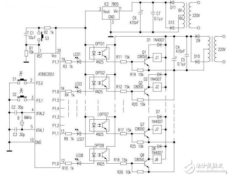 太阳能热水器电路图大全(上水自控电路/SN8P1706/恒温电热水器)