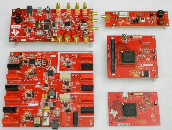 TSW4806,TSW1405,TSW1406,TSW2110和TSW2200TI五个产品的评估模块