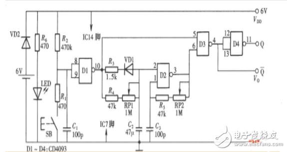 cd4093应用开关电路图大全(感应式控制开关电路/脉冲发生器/密码锁)