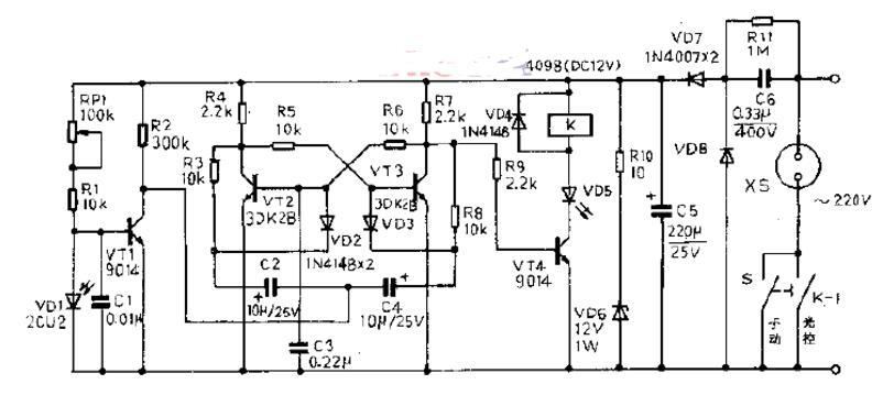 三极管组成的光控开关电路原理图_?#30446;?#20809;控开关电路图