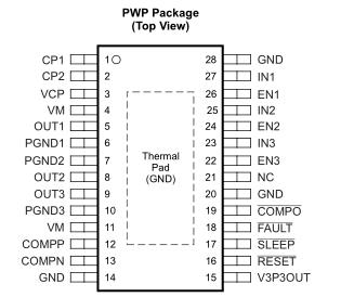 DRV8313 三个半 H桥驱动器集成电路 (IC)