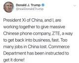 特朗普承诺帮助ZTE恢复业务