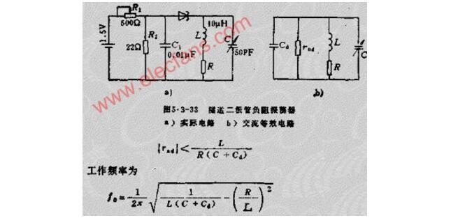 一文解析隧道二极管组成负阻振荡器电路及工作原理