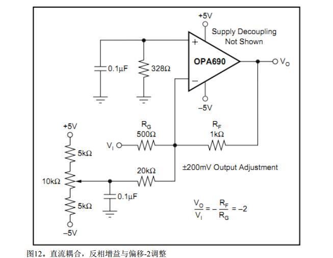 opa690应用电路图大全(六款放大电路/电源滤波/直流耦合电路)