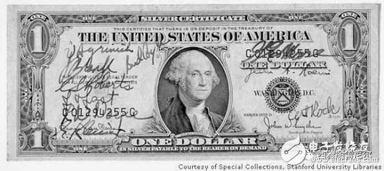 收藏在斯坦福图书馆的签名版 1 美元纸币