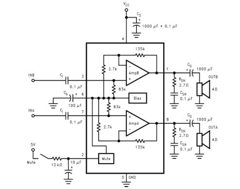 LM4755立体声11W音频功率放大器