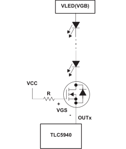 如何使用高LED电源电压和串联发光二极管的TLC5940