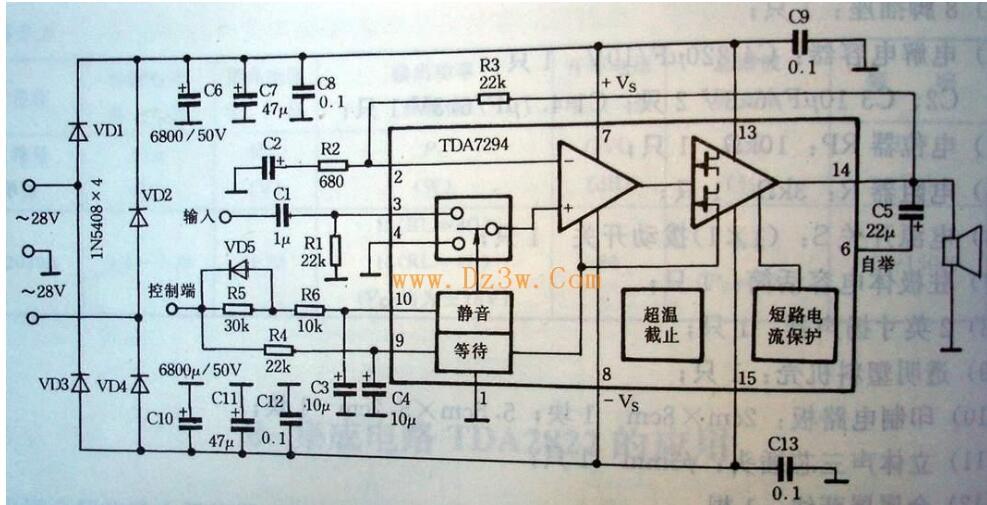 BTL电路见图2,利用两片TDA7294桥接组成BTL功放电路,输出功率可达150W 以上,适合歌舞厅等需要大功率的地方,立体声时需要4块TDA7294。当电源电压为土25V时,在8欧姆负载上可获得150W的连续输出功率。当电源电为±35V时,在16欧姆负载上可获得180W的连续输出功率。用TDA7294作BTL功放,负载不得低于8欧姆。