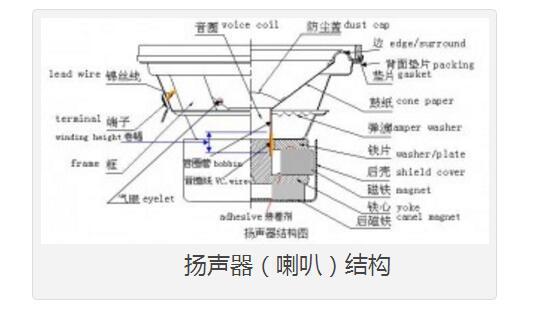 (交流电)通过线圈在磁场的作用下使线圈移动,线圈连接在纸盆上带动纸盆震动,再由纸盆的震动推动空气,从而发出声音。   喇叭的发声原理   当喇叭接收到由音源设备输出的电信号时,电流会通过喇叭上的线圈,并产生磁场反应。而通过线圈的电流是交变电流,它的正负极是不断变化的;正极和负极相遇会相互吸引,线圈受到喇叭上磁铁的吸引向后(箱体内)运动;正极和正极相遇则相互排斥,线圈向外(箱体外)运动。这一收一扩的节奏会产生声波和气流,并发出声音,它和我们讲话的喉咙振动是同样的效果。   频率响应曲线SPL vs Freq