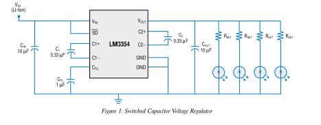 开关电容电路提供高效和功能的白光LED驱动器