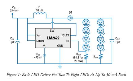 关于电感的开关稳压器电路提供高效率白光LED驱动器