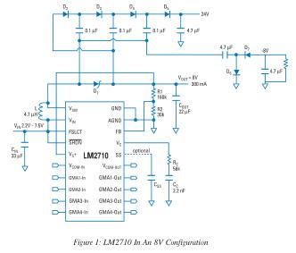 LM2622,LM2700,LM2702,LM2710,LM2711集成简化了TFT电源设计
