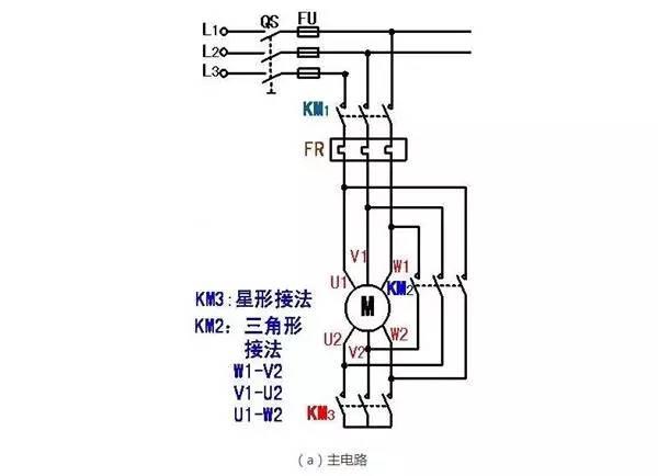 电动机的y-△降压启动的接线图    (2)设计三相异步电动机的y-△