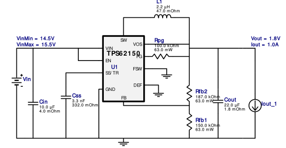 WEBENCH® 设计报告 Design : 3588399/24 TPS62150RGTR TPS62150RGTR 14.5V-15.5V to 1.8V @ 1.0A