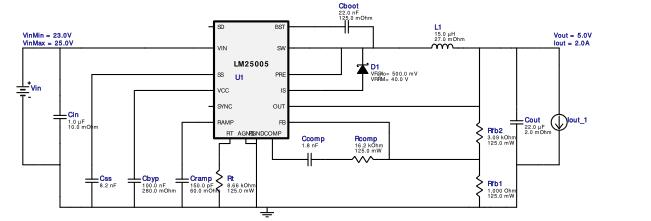 WEBENCH® 设计报告 Design : 3588399/25 LM25005MH/NOPB LM25005MH/NOPB 23.0V-25.0V to 5.0V @ 2.0A
