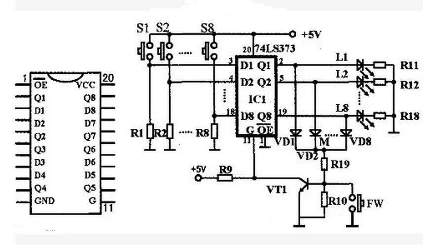 锁存器74ls373应用电路图大全(四款抢答器/单片机接口/信号发生器电路)