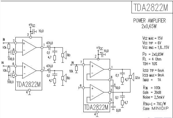 tda2822m中文资料汇总(tda2822m引脚图及参数_内部结构及应用电路)