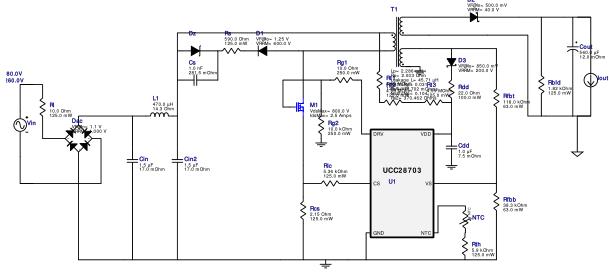WEBENCH ® 设计报告 Design : 3728064/2 UCC28703DBVT UCC28703DBVT 180.0V-260.0V to 5.25V @ 2.0A