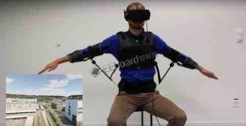 穿上这款可穿戴式外骨骼及VR头盔,即可体验空中飞行的快感