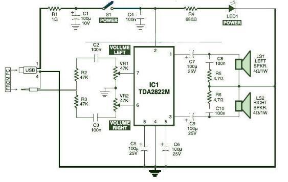 tda2822m的音响电路图(四款电脑音箱/有源音箱/低音音箱电路)