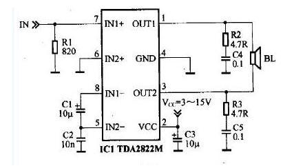 tda2822m的音响电路图 四款电脑音箱 有源音箱 低音音箱电路
