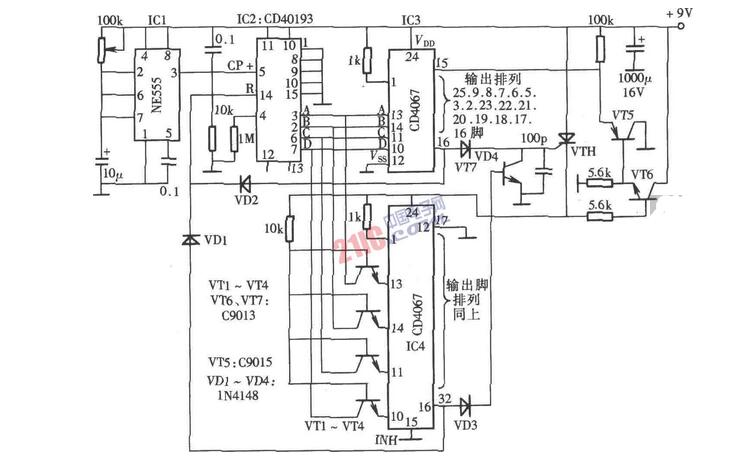 cd4067应用电路图大全(计数器/自动巡检/流水灯数控/采集分站)