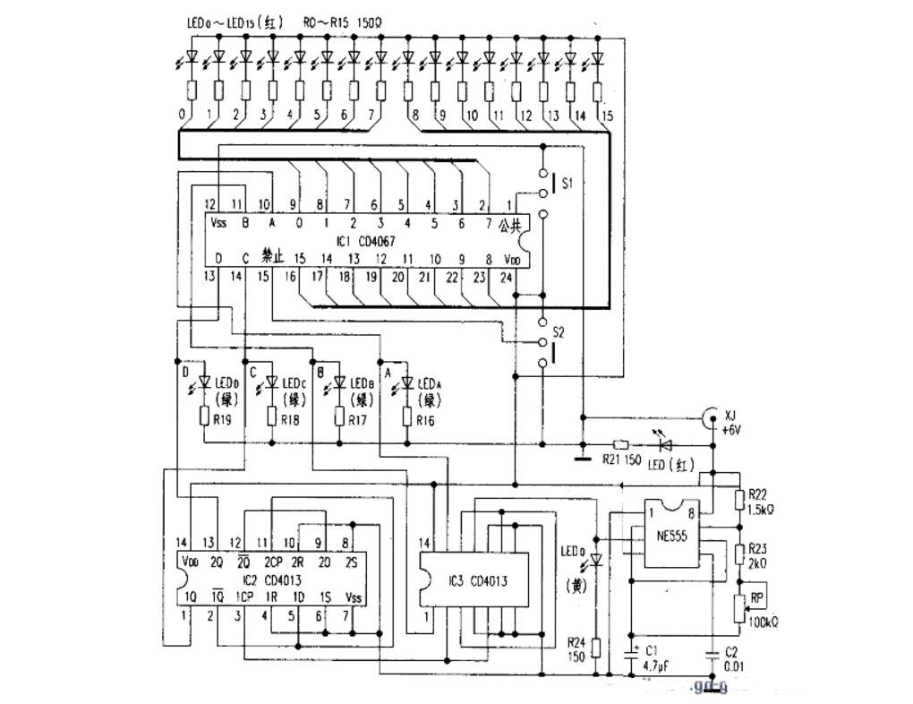 cd4067应用电路图大全(计数器/自动巡检/流...