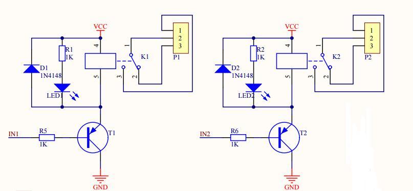 2路继电器原理图说明-电子电路图,电子技术资料网站