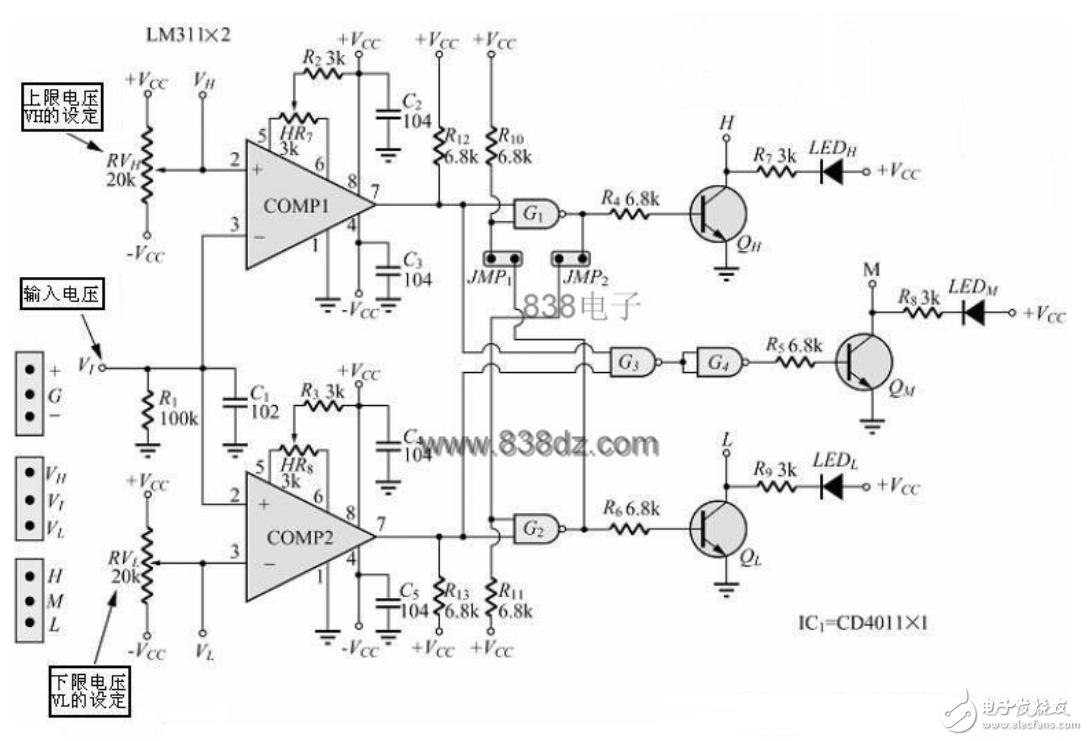 上下限电压比较器电路图讲解及几款电压比较器电路图分析