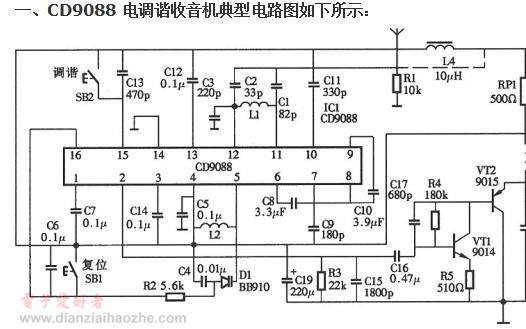 CD9088电调谐收音机的介绍和电路图,工作原理以及调试方法概述