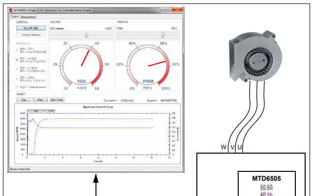 MTD6505三相BLDC无传感器风扇控制器演示板的详细中文资料概述