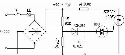 光敏电阻式的调光电路,光控开关电路,暗激发光控开关的详细电路图