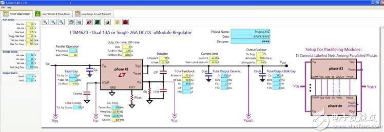 """""""图9:稳压器模型作为系统的一部分是非常关键的,LTSpice模型和模拟可以用于比如双路13A/单路26A的常规设计中(来源:凌力尔特)"""""""