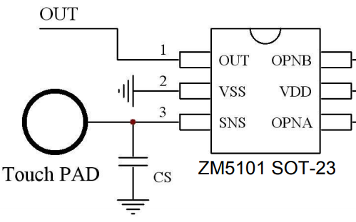 ZM5101低成本高可靠度的电容式触摸感应IC的详细中文数据手册免费下载