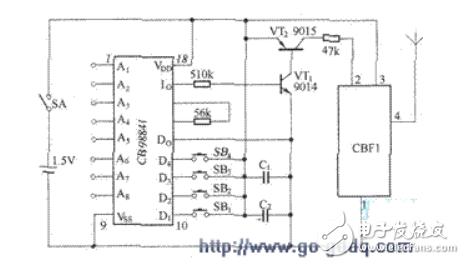 SB-50ALTX无线遥控发射机的电路原理